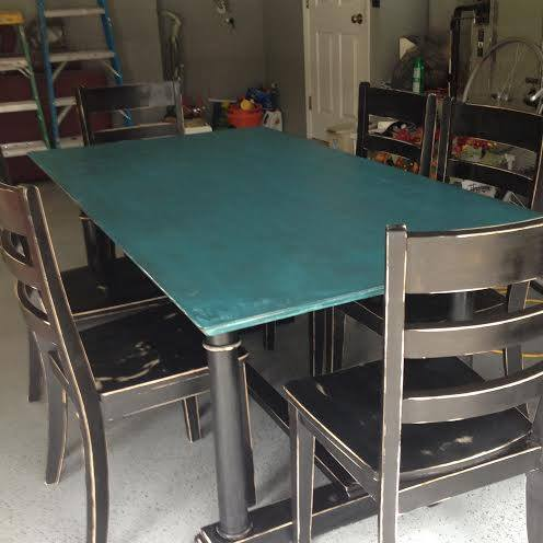 black table with turquoise top