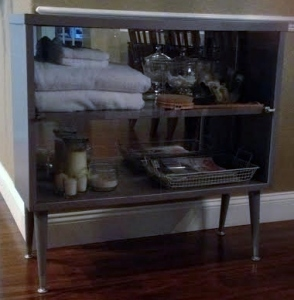 Grey mirrored cabinet