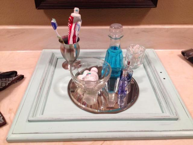 bathroom tray after